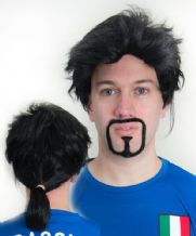 Roberto Baggio Ponytail Wig & Beard Football Fancy Dress